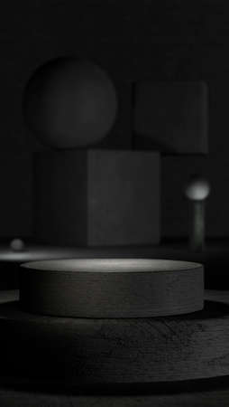 Monochrome stage with a pedestal and abstract geometric concrete shapes in the background in a minimalist modern realistic style design with empty space for text or logo. 3D rendering. Mock up