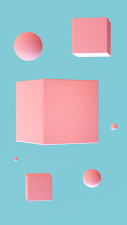 Flying shapes of pink color on a blue background. 3D rendering. Blank for design. Layout. Place for logo or text. Abstraction. Minimalism