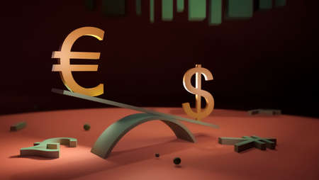 Euro and dollar symbols stand on a swing against the background of other currencies symbols. 3D rendering. The concept of finance, exchange rates, forex