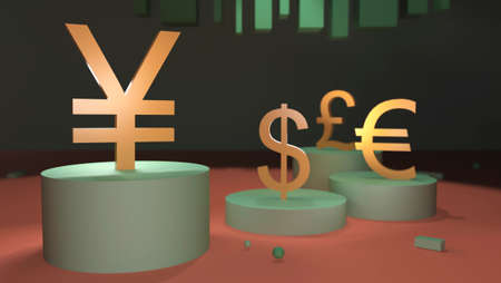 Gilded yen symbol rises on a pedestal against the background of other currencies. 3D rendering. The concept of finance, exchange rates, forex 스톡 콘텐츠