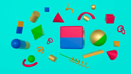 Realistic primitives in abstract composition. Spheres, cylinders, cubes, cone in different colors. 3D rendering. Blank for design. Layout. Abstraction. Minimalism