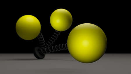 Yellow balls on springs on a dark gray background. 3D rendering. Blank for design. Layout. Place for logo or text. Abstraction. Minimalism