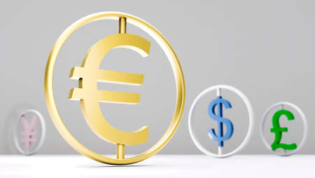 Round-framed gold-plated euro symbol dominates other currency symbols against a neutral gray background with room for text or logo. Finance concept. Rendering 3D 스톡 콘텐츠
