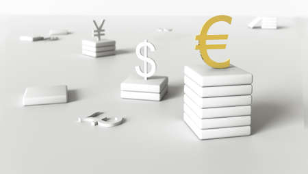 Gilded euro symbol stands on a pedestal surrounded by symbols of other currencies on a neutral gray background. Finance concept. Rendering 3D