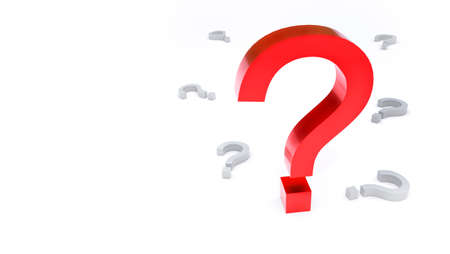 Bright red question mark rises above the gray characters on a light background with room for text or a logo. 3D rendering