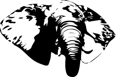 Elephant head in 1 color for silk printing, screen printing, sublimation printing