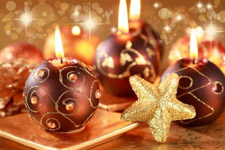 Fir-tree spruce with Christmas decor balls close up