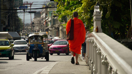A buddhist monk walking 写真素材