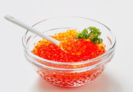 Spoon with red sturgeon caviar in a glass Zdjęcie Seryjne