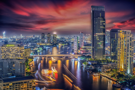 Bangkok night city