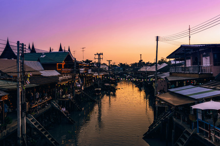The sun down in thai village
