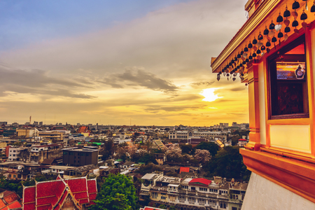 Bangkok city. Golden hour, top view