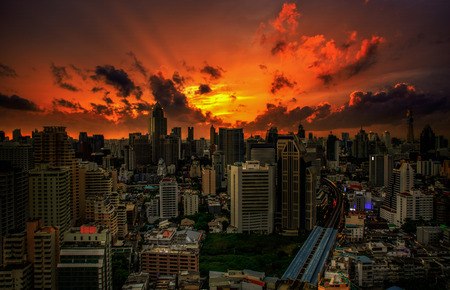 Bangkok city at sunset. Top view 写真素材