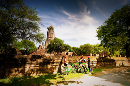 Cyclists lookong at Temple in Thailand