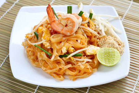 Pad Thai with shrimps Stock fotó