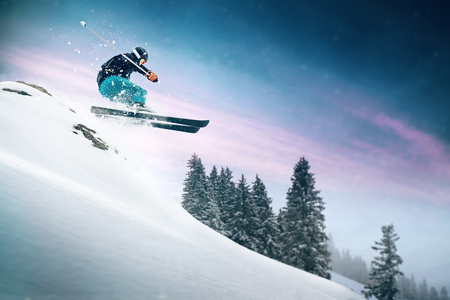 Skiing. Jumping skier. Extreme winter sports. 写真素材