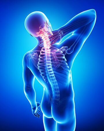3d male neck pain in blue