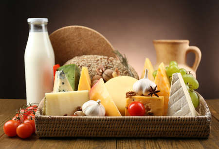 Set from dairy products on wooden table