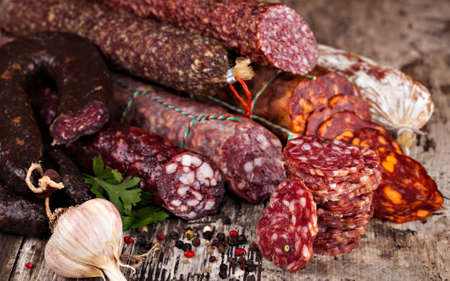 Set of salami o table close-up view
