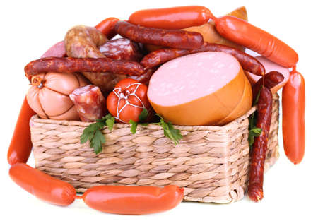 Set of different sausages close-up background
