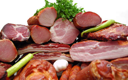 Set of different smoked meat close-up background 免版税图像
