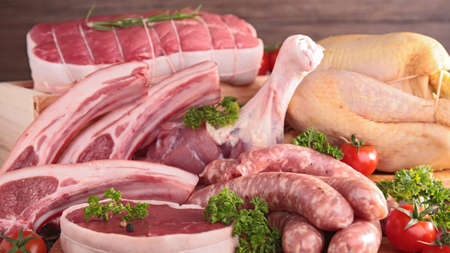 Set of raw meat chicken and sausages close-up background