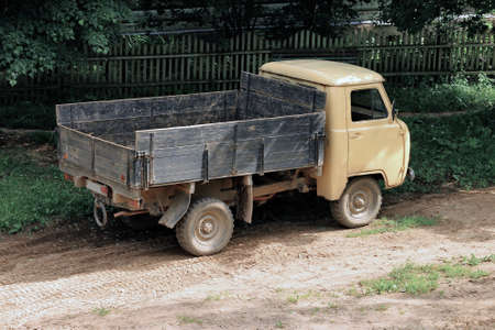 old truck: Old truck in a Russian village Medyn Stock Photo