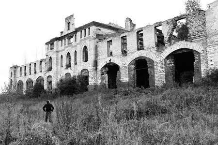 eyewitness: view of old ruined building of the ducal horse stables in black and white, near Vladimir, Russia