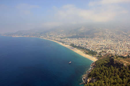 birds eye view: panoramic view over turkish Alanya city and Mediterranean sea from birds eye view