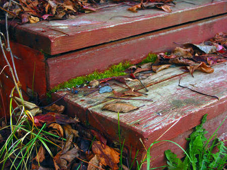 stoop: old red color wooden board steps of the porch of countryhouse with fall leaves in autamn, october, russian countryside