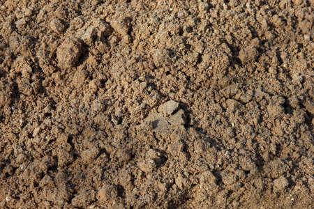 sand quarry: raw wet quarry coarse brown sand foreground closeup Stock Photo