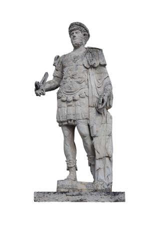 estatua de mármol romano antiguo del emperador romano aislado en el fondo blanco