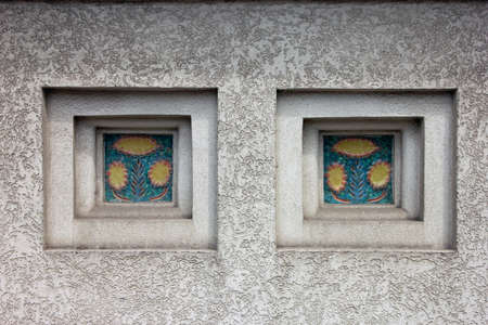 niches: niches with decorative inserts of ceramic tile on white plastered wall