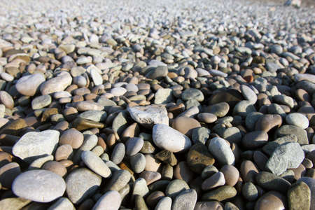 big slick: perspective view of beautiful dry round colored sea pebbles on pebble beach foreground closeup