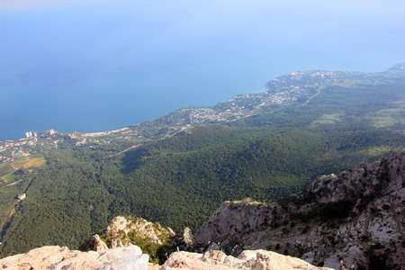 beautiful panoramic view from top of crimean mountain Ai-Petri on Black sea coast, Crimea
