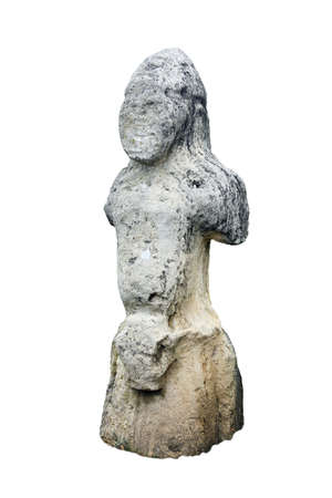 old grey stone humanoid pagan idol isolated closeup on white background
