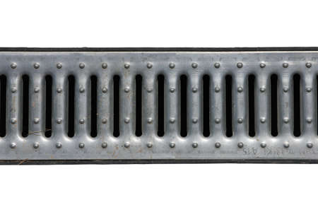 grille: steel metal grey galvanized  zinced drainage grate of drainage canal isolated on white background closeup Stock Photo