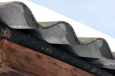 corrugated asbestos grey roof foreground closeup Stock Photo