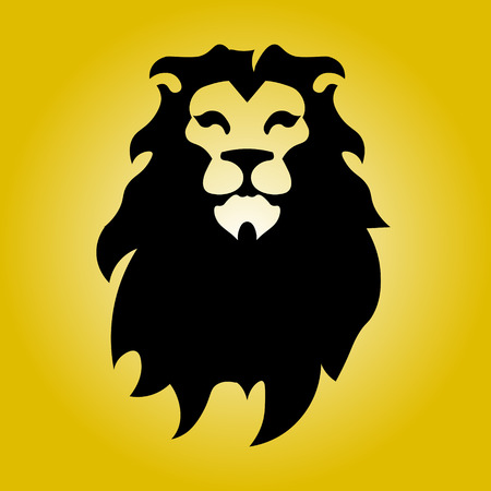 Hipster logotype with head of lion
