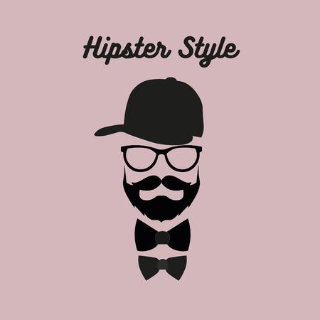 流行に敏感なひげを生やした男  イラスト・ベクター素材