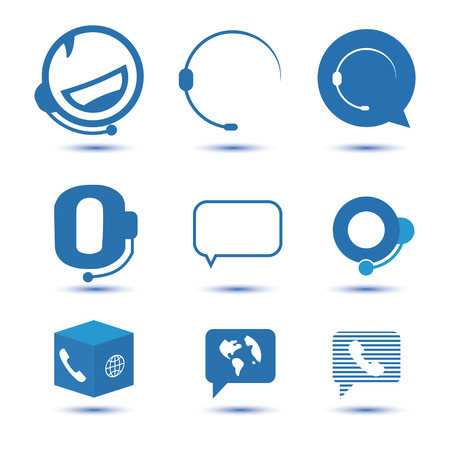 contact center: Icons for call center or hotline, support symbol in vector Illustration