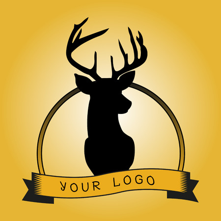 head icon: Hipster logotype with head of deer