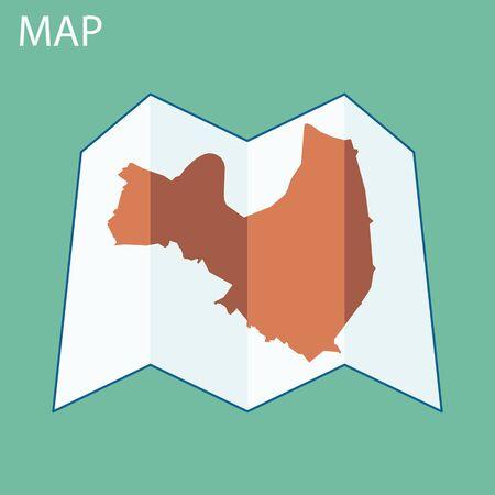 voyager: World map on a folded sheet of paper Illustration