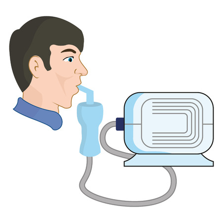 A man uses a nebulizer, from asthma and respiratory diseases Stock Illustratie