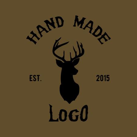 Hipster логотип с головой оленя Иллюстрация