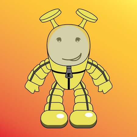 humanoid: Cartoon humanoid, alien or robot Illustration