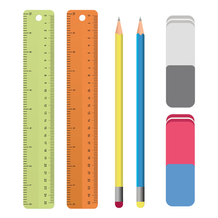 Set di strumenti di cancelleria delinea: righello, matita, gomma. Materiale scolastico, Disegno Situato in vettoriale Archivio Fotografico - 45783488
