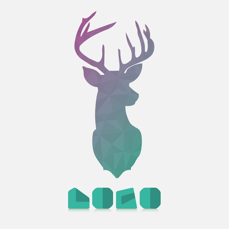 antlers silhouette: Polygonal hipster logo with head of deer in mint color with gradient