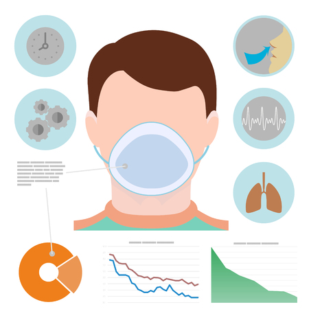 breathe easy: Respiratory infographic, man in respiratory mask, icons with lungs, easy breathing, clock, diagram, graphic.