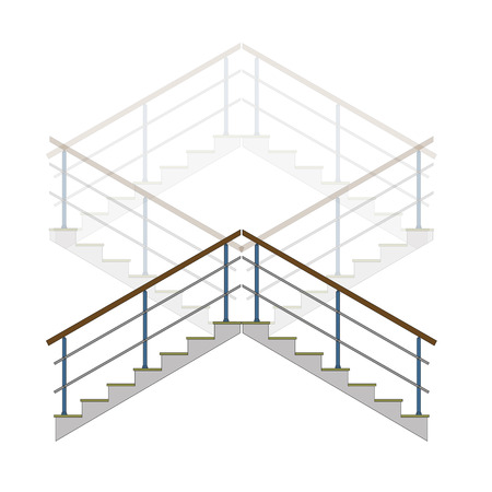 upstairs: Stair with handrails, stairs, ladder in vector